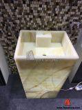 Beige Onyx Pedestal Sink Vessel Basin pour meubles de salle de bain