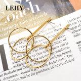 Daling van de Legering van de Juwelen van de Lijn van de Cirkel van de gouden-Kleur van de manier bengelt de Dubbele Oorringen
