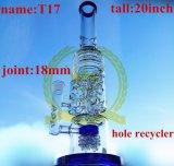 Corona Doble Árbol Árbol Ducha Percolater Alta Calidad Reciclador Tabaco Tall Color Bowl Vidrio Craft Cenicero Tubos de vidrio Heady Beaker Bubbler Glaze Blue Glass Pipe