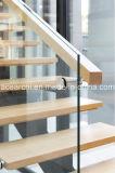 Escalera recta de escalera recta moderna de acero con balaustrada de vidrio templado