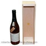 Rectángulo de madera personalizado del vino con insignia del cliente