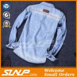 Camicia lunga alla moda del denim di modo del rivestimento del manicotto del cotone del Mens