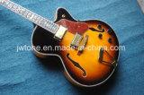 Guitare électrique de corps d'usine du corps es 335 de jazz d'ormeau de marqueterie du double F de qualité épaisse creuse fabriquée à la main de trou