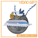 昇華させたリボン(YB-MD-12)が付いているカスタムロゴのエナメルの円形浮彫り