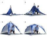 منافس من الوزن الخفيف في الهواء الطلق يفرقع ظلة سريعة فوقيّة فوق ظل خيمة