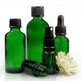 frasco de vidro verde de petróleo 100ml essencial com o tampão de parafuso branco