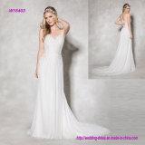 восхитительное шифоновое платье венчания с затейливыми вышитыми планками лифа законченными и чувствительными Beaded на задней части