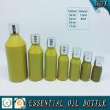 Bouteille en verre européenne d'huile essentielle de vert jaune avec le chapeau en aluminium argenté