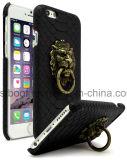 Caixa de couro Textured do telefone do plutônio da pele preta de Gator