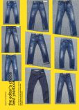 10oz magere Jeans met Schuring in Lichte Was (hs-21701T)