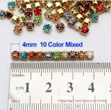 يخيط [5مّ] مستديرة على [رهينستون] بلّوريّة في نوع ذهب عمليّة إعداد ([سو-رووند] [5/6/7/9/10مّ])