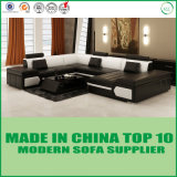 Sofà moderno del cuoio della mobilia del salone del blocco per grafici di legno