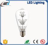 MTX LEDの電球のセリウムST64は白い省エネ3W LEDの星明かりの球根の装飾の照明を暖める