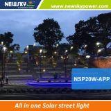 iluminação de rua toda do diodo emissor de luz da potência 30W solar em uma lâmpada de rua do diodo emissor de luz