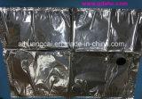 Bolso plateado aluminio plástico del vino/del petróleo/de agua en rectángulo con la válvula