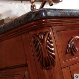 床の大理石の洗面器のクラシックの純木の浴室用キャビネット