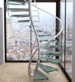 Escadaria espiral elegante com balaustrada de aço
