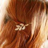 普及した金のいろいろな葉形のヘアピンのアクセサリの天飾り