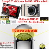 """Nueva cámara llena caliente de la rociada de la videocámara del coche de 3.0 """" HD1080p con H264. Formato de los MOVIMIENTOS DVR, rectángulo negro del coche mega 5.0, 6g lente, 170degree ángulo DVR-3017"""