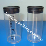 Transparent Pet Damask Plastic Cylinder with Black Caps