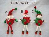""""""" tasto decorazione fornita di gambe Ornaments-3asst dell'albero del pupazzo di neve e della Santa di H 9"""