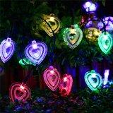Il cuore LED solare a forma di illumina l'indicatore luminoso leggiadramente della stringa per la decorazione esterna del partito di giardino di natale