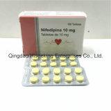 GMP zugelassene pharmazeutische Chemikalien Nifedipine Tablette 10mg, menschliche Medizin-Tabletten