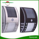 Indicatore luminoso solare fissato al muro solare impermeabile della lampada 3PCS LED di obbligazione del sensore di movimento dell'acciaio inossidabile PIR di illuminazione esterna