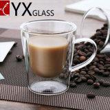 명확한 두 배 벽 커피 또는 차 유리 컵을 부는 손잡이 고품질 기계를 가진 두 배에 의하여 벽으로 막히는 내열 명확한 큰 유리제 차잔