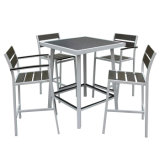 تصميم جديد خارجيّ بلاستيكيّة خشبيّة أثاث لازم حديقة قهوة كرسي تثبيت قضيب طاولة مجموعة