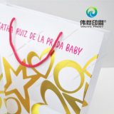 Saco de papel do presente da impressão da alta qualidade com carimbo quente do logotipo
