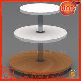 Support de table ronde en mélamine blanc à 3 niveaux