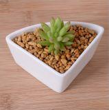 Flowerpot branco cerâmico triangular com base de bambu