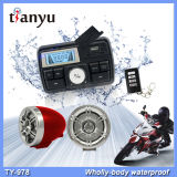 Impermeável motocicleta alarme LCD relógio sistema de áudio USB SD FM MP3 função