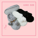 Ladies New Soft Fashion Plush Littice Indoor Slippers Shoes