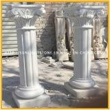 Weiße Marmorsteinskulptur-Pfosten-Spalte für Hauptdekoration
