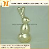 Forma cerâmica do coelho da decoração do repouso do presente da escultura da porcelana do presente de Easter do Figurine