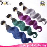 Borgoña/trama brasileña púrpura/roja/del verde/del tono gris de la armadura 9A dos del pelo humano de Ombre del pelo