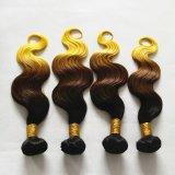 """26 """" non capelli castani dorati dei capelli umani di Remy/gialli di trama di 3tone Ombre"""