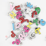 8mm Rhinestone variopinto Alphabet/Letter Slide Charms per Jewelry Making (JP08)