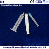 바늘 (5ml)를 가진 의학 처분할 수 있는 플라스틱 주사통 3개 부품