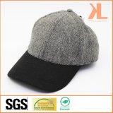 Casquette de baseball grise de tweed de qualité de polyester et de laines et noire ordinaire chaude