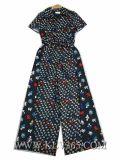 신식 형식 여자 여름 꽃 인쇄된 실크 낙하산 강하복