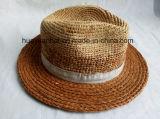 Paille 100% de raphia avec des chapeaux de safari d'impression de couleur