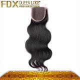 Закрытие шнурка Fdx- Queenlike, закрытие шнурка человеческих волос волос 100% индийское (FDX-SM-2016-6)