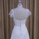 Backless wulstige Schutzkappen-Hülsen-Chiffon- Hochzeits-Kleid