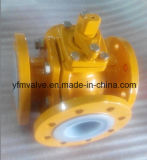 일렬로 세워진 3방향 Ball Valve Worm Gear Operator