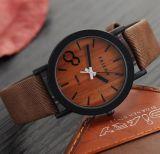 Da cor de madeira ocasional de madeira dos relógios das mulheres dos relógios de pulso da simulação do relógio de quartzo Yxl-859 cinta de couro Montre Femme Relogio Feminino