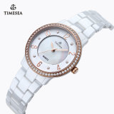 강철 세라믹 석영 아날로그 시계 White71081를 가진 세라믹스 시계 세라믹스 숙녀 시계