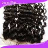 Kundenspezifisches Verwicklung frei Remy Menschenhaar-Jungfrau-Haar-Silk Spitzenschliessen-Spitze-Stirnbein 100% der Farben-100% (F-005)
